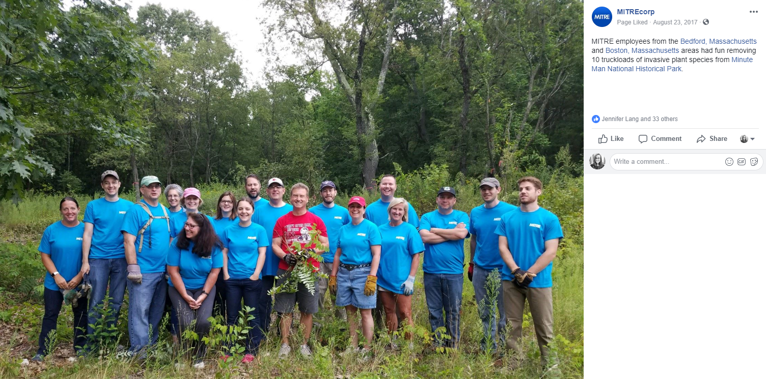 A group of employees engaging in community volunteer activities