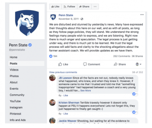 Penn State Facebook Post